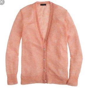 Jcrew mohair cardigan pink/peachy cozy sweater M